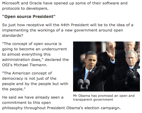 Obama promette una pubblica amministrazione open source
