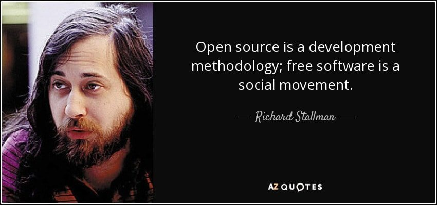 Il Free Software è un movimento sociale mentre l'Open Source è un modello di sviluppo e di business