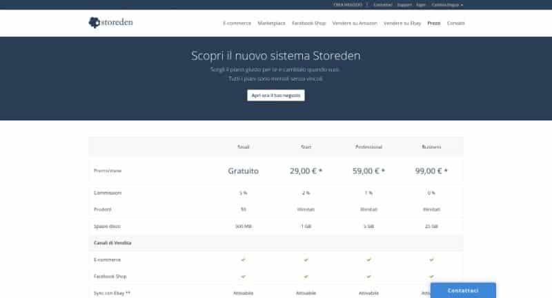Piani di prezzo di Storeden
