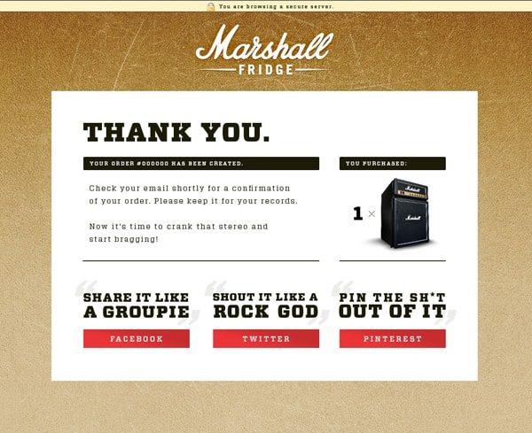 Pagina di ringraziamento dopo l'inoltro di un ordine - Marshall Fridge