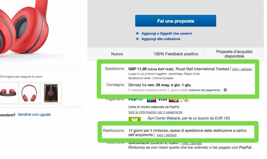 Inserzione eBay, dettaglio spedizioni e diritto di recesso