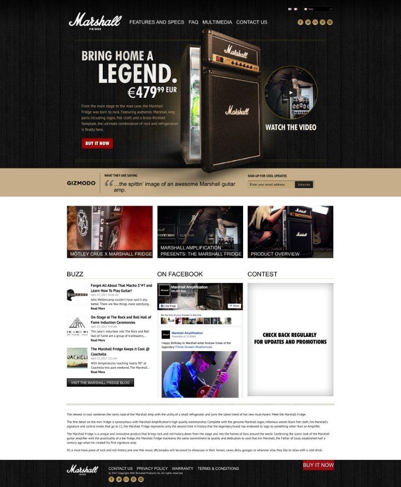 Home page di Marshall Fridge